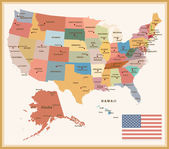 Vintage Color Political map of the USA with flag