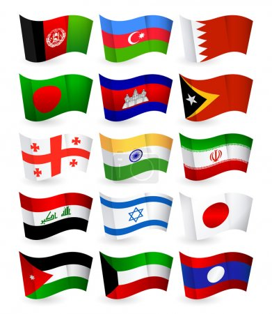 Asia country flying flags set part 1