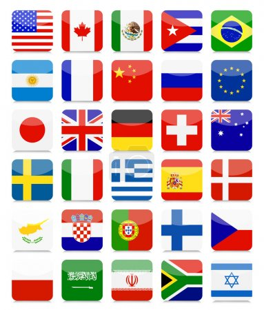 World Flags Flat Square Icon Set
