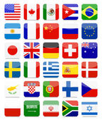 World Flags Flat Square Icon SetAll elements are separated in editable layers clearly labeled