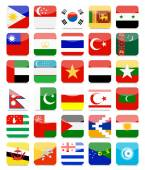 Asian Flags Flat Square Icon Set 2