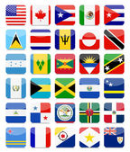 The Americas and the Caribbean Flags Flat Square Icon Set 1All elements are separated in editable layers clearly labeled