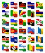 Flat Design African Waving Flags 2