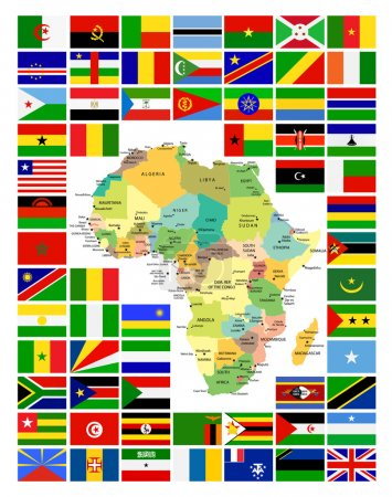 All African Flags Complete Set and It's Map