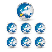 Globe set with EU countries World Map Location Part 1
