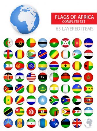 Round Glossy Flags of Africa Complete Set