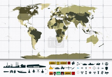 Detailed World Map and Military Power Icon Set
