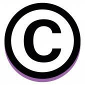 Copyright ikon elszigetelt fehér Background
