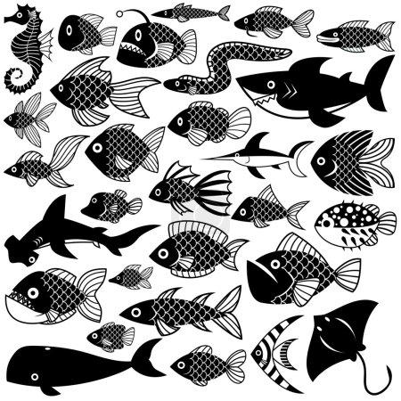 Illustration pour Vecteur déclenché différents poissons isolés sur fond blanc - image libre de droit