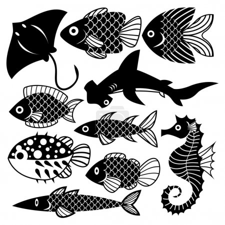 Set Off Different Fishes Isolated On White Background