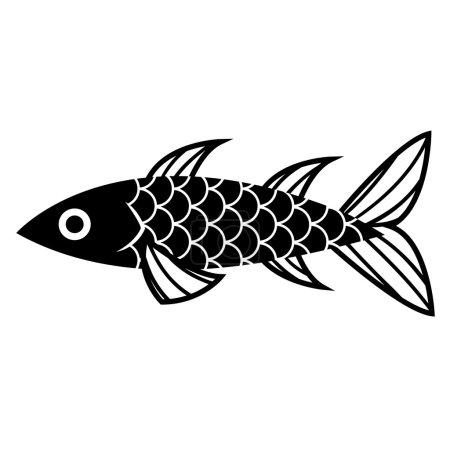 Stylish Cartoon Fish Isolated On White Background