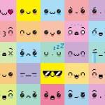 Vector Set Of Different Cartoon Pixel Faces...