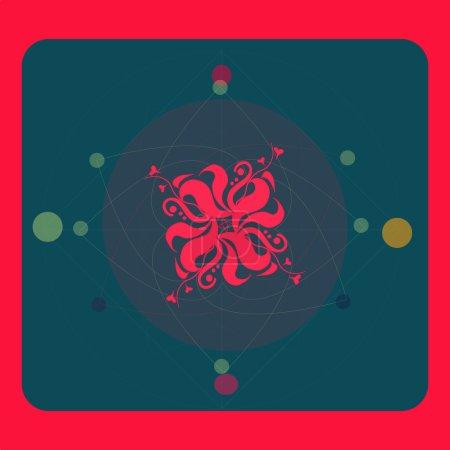 Sacred geometry, flower love vector illustration for postcard, banner