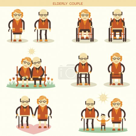 Old people life.Vector icons isolated