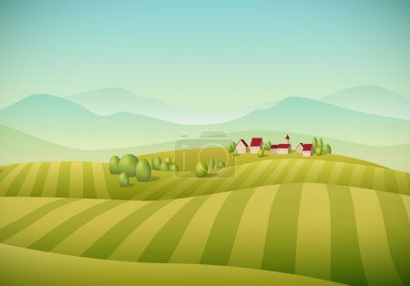 Illustration for Vector illustration of little village landscape with fields. - Royalty Free Image