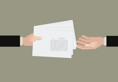 A hand giving a papers another hand. Flat vector i...