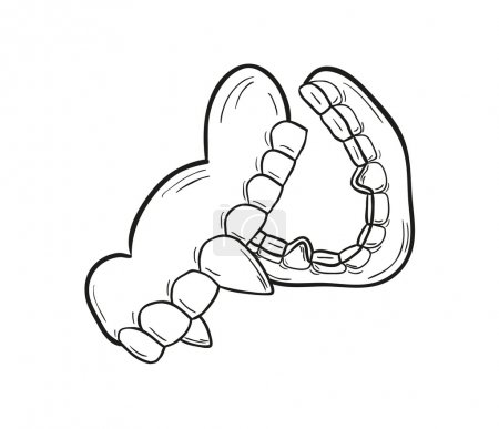 Illustration for Sketch of the vampire denture on white background, isolated - Royalty Free Image