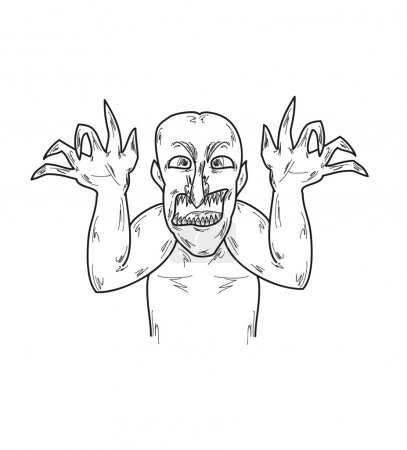 Illustration for Black old ugly man with horrible claws, sketch, vector - Royalty Free Image
