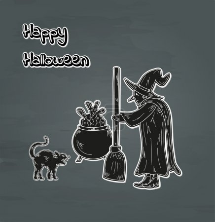 Illustration for Old witch, cat and cauldron happy halloween card, vector - Royalty Free Image