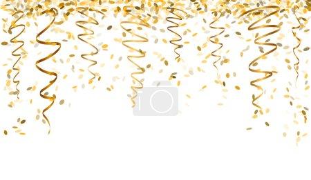 Illustration pour Confettis ovales tombants et rubans de couleur or - image libre de droit