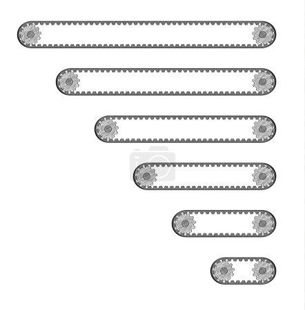 Six conveyor belts with two cogwheels