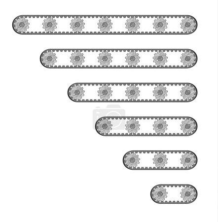 Six conveyor belts with many cogwheels