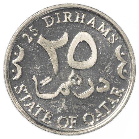25 Qatari Dirham coin isolated on white background...