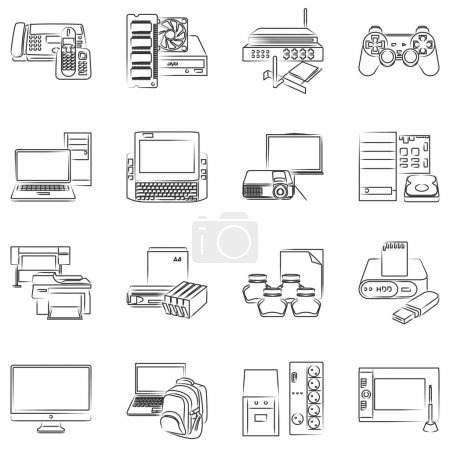 Illustration for Vector computer hardware icon set - Royalty Free Image