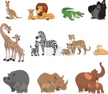Illustration pour Ensemble d'illustrations vectorielles d'animaux exotiques drôles - image libre de droit