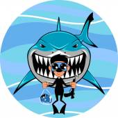 Vector image toothy white shark and diver
