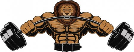 Illustration for Vector illustration of an angry lion with a barbell - Royalty Free Image