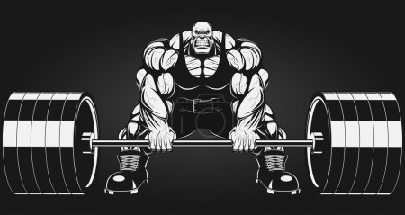 Illustration for Illustratio, a ferocious bodybuilder with a barbell - Royalty Free Image