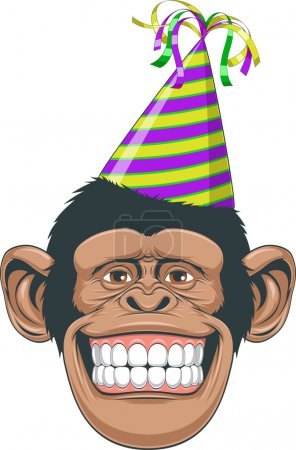 Illustration for Vectorial illustration, the head of a chimpanzee wearing a cap with ribbons - Royalty Free Image