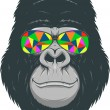 Vector illustration, funny gorilla with colored gl...