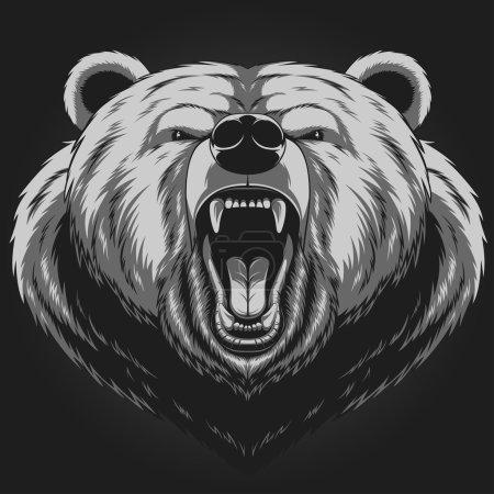 Illustration pour Illustration vectorielle, Mascotte d'ours en colère - image libre de droit
