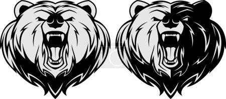Illustration pour Illustration vectorielle, Mascotte d'ours en colère, mascotte de tête - image libre de droit