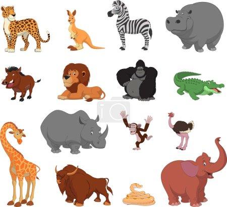 Photo pour Ensemble d'illustrations vectorielles d'animaux exotiques drôles - image libre de droit