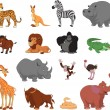 Vector illustration set of funny exotic animals...