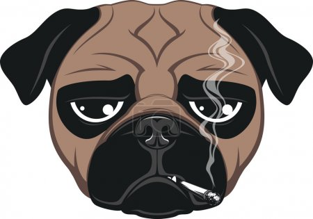 Illustration for Vector illustration of funny dog smoking a cigarette - Royalty Free Image