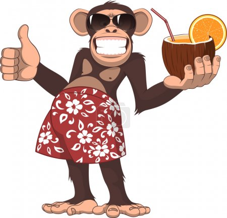 Vector illustration, chimpanzee holding a cocktail...