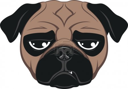 Illustration for Vector illustration of funny pug smiling on a white background - Royalty Free Image