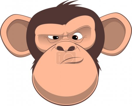 Vector illustration, funny chimpanzee frowns, on a...