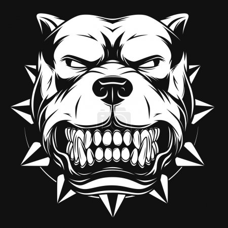 Vector illustration Angry pitbull mascot head, on ...