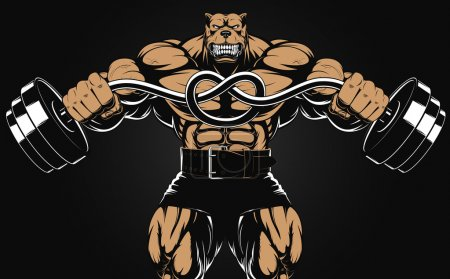 Illustration for Vector illustration of an angry dog with a barbell - Royalty Free Image