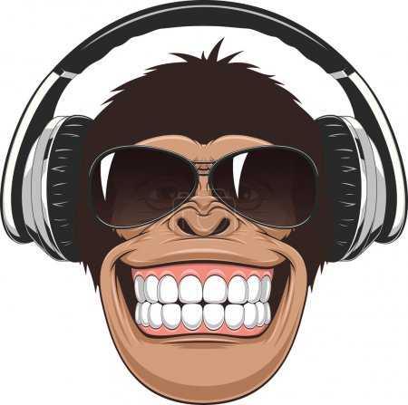 Illustration for Vectorial illustration,funny chimpanzee in colored glasses and headphones - Royalty Free Image