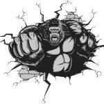 Vector illustration, ferocious gorilla hit the wal...