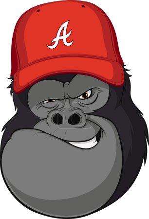 Illustration for Vector illustration, funny gorilla in a red baseball cap - Royalty Free Image