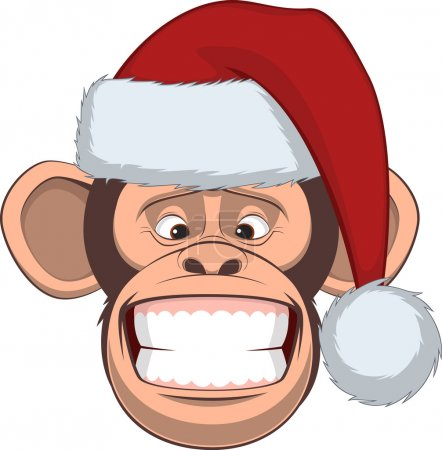 Illustration for Vector illustration, funny chimpanzee in a festive hat - Royalty Free Image