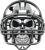 Human skull wearing a helmet to play football vector illustration