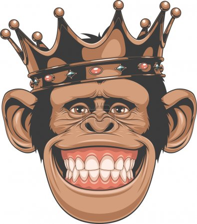 Illustration for Vector illustration, funny chimpanzees in the crown - Royalty Free Image